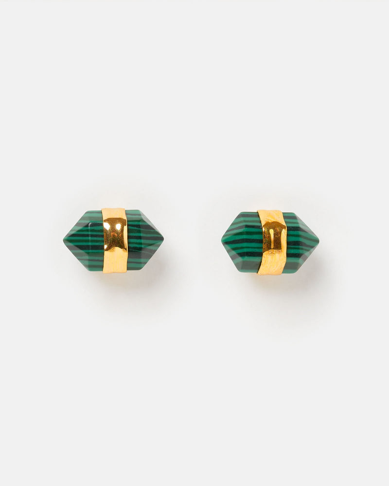 Miz Casa & Co Angel Fish Stud Earrings Emerald Gold