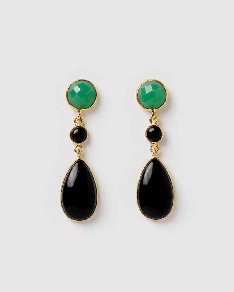 Izoa Astra Earrings Black Onyx Chrysoprase