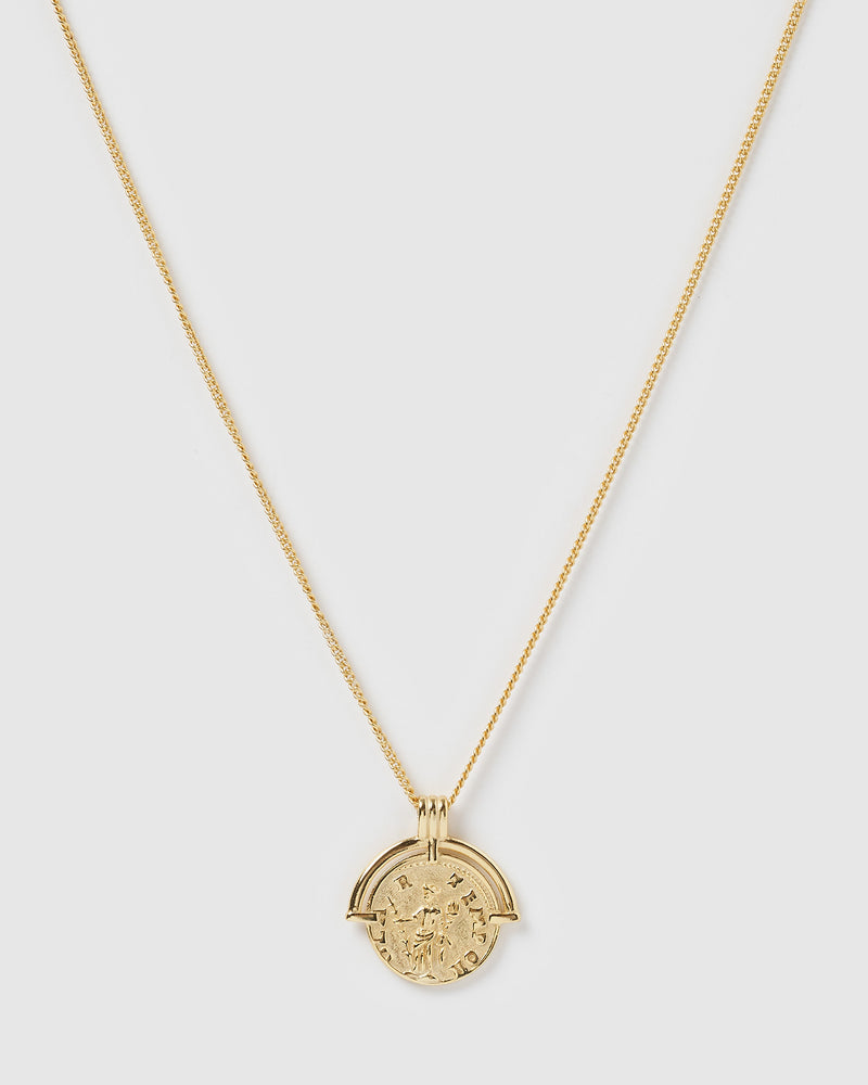 Izoa Athena Coin Necklace Gold