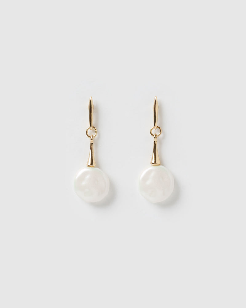 Izoa Ava Drop Earrings Gold Freshwater Pearl
