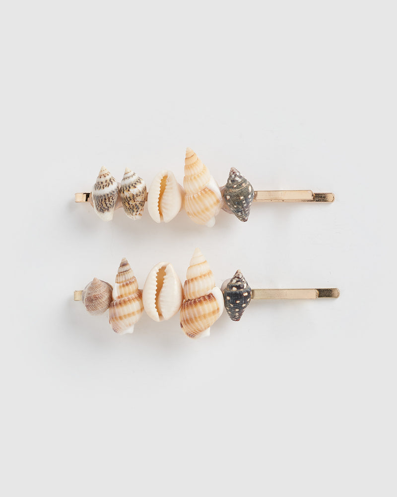 Izoa Accrued Shell Hair Clip Set Gold