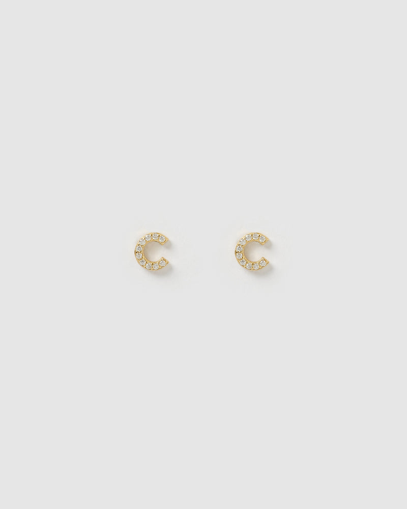 Izoa Alphabet Mini Letter C Stud Earrings Gold