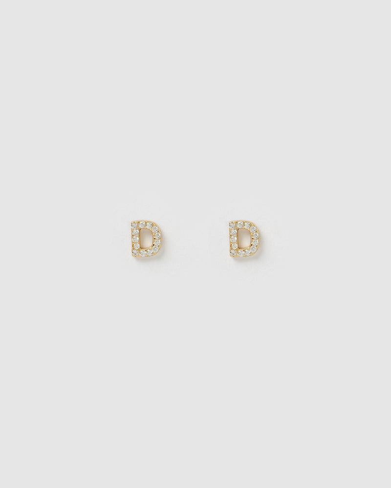 Izoa Alphabet Mini Letter D Stud Earrings Gold