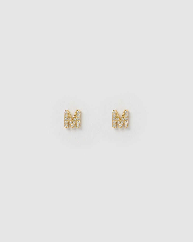 Izoa Alphabet Mini Letter M Stud Earrings Gold