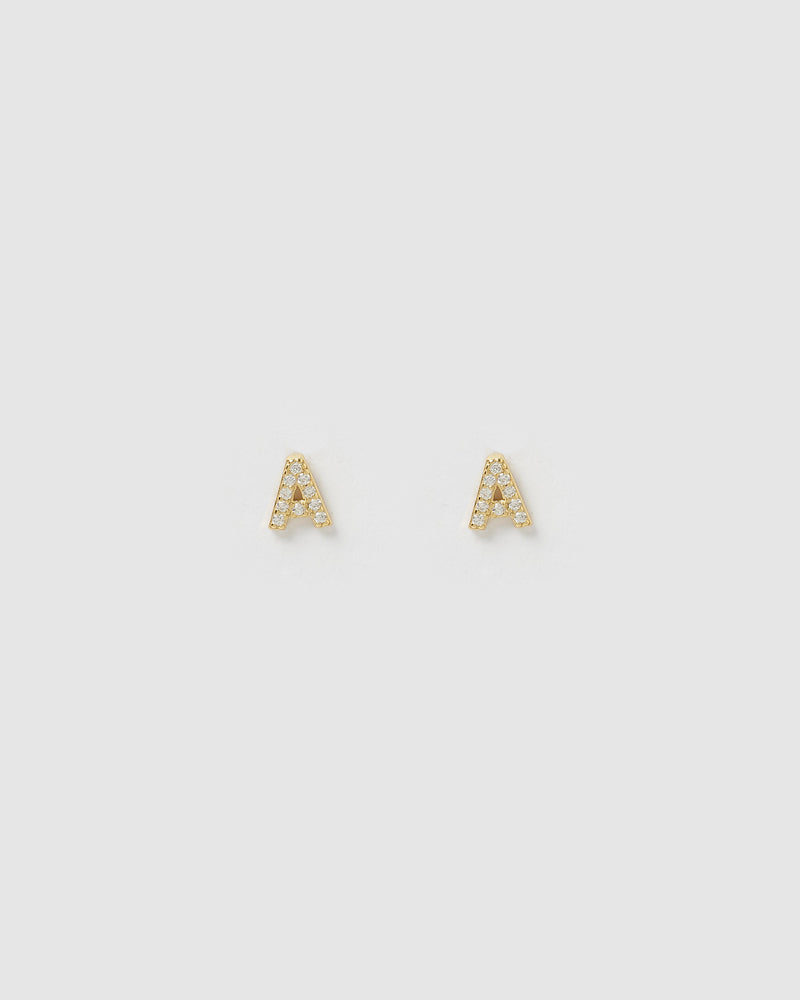 Izoa Alphabet Mini Letter A Stud Earrings Gold