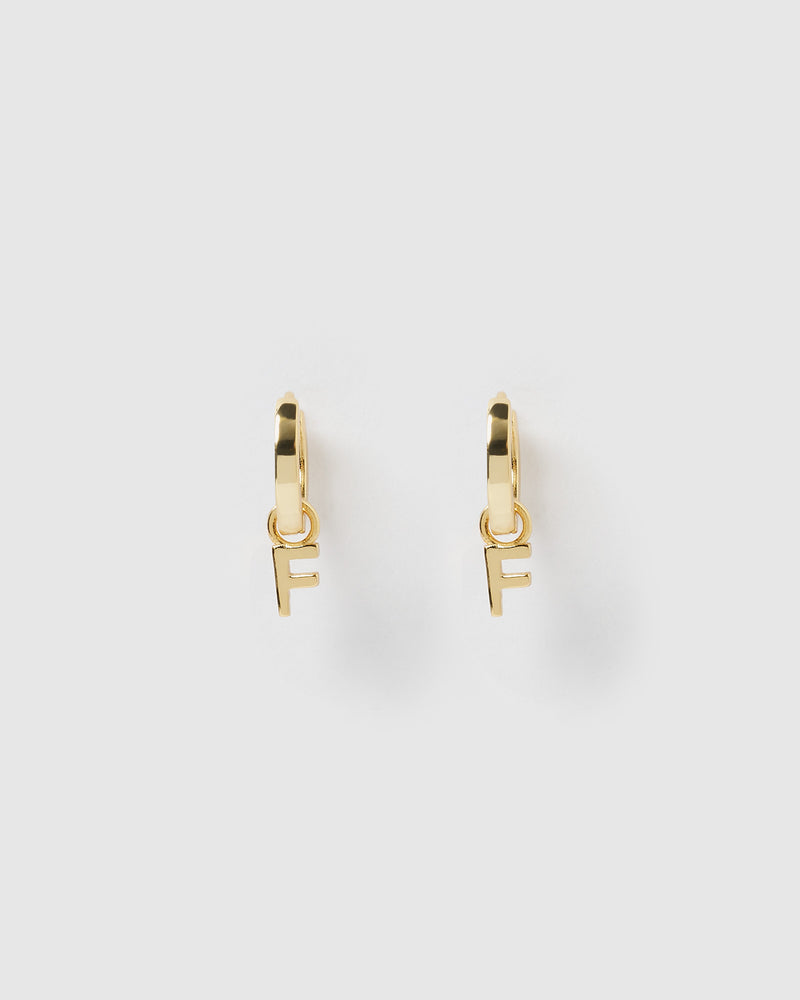 Izoa Alphabet Letter F Huggie Earrings Gold