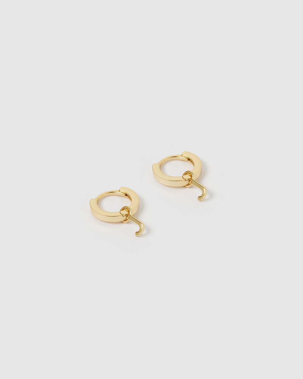 Izoa Alphabet Letter J Huggie Earrings Gold