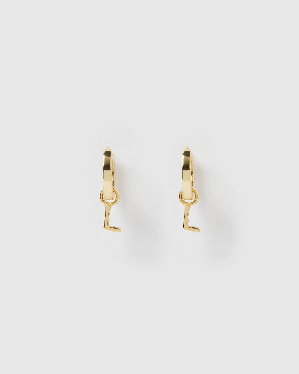 Izoa Alphabet Letter L Huggie Earrings Gold