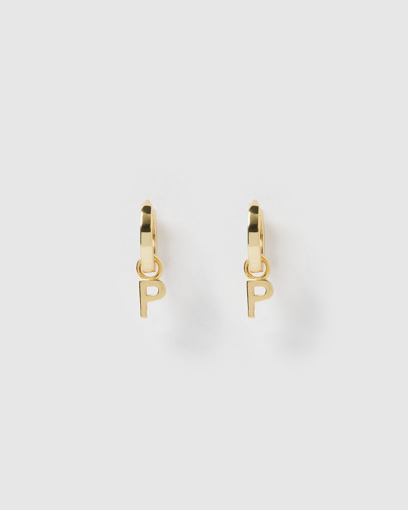 Izoa Alphabet Letter P Huggie Earrings Gold