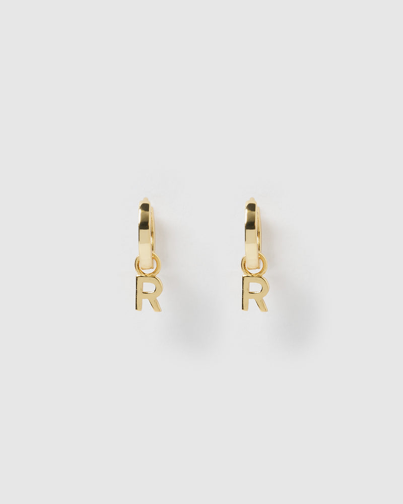 Izoa Alphabet Letter R Huggie Earrings Gold