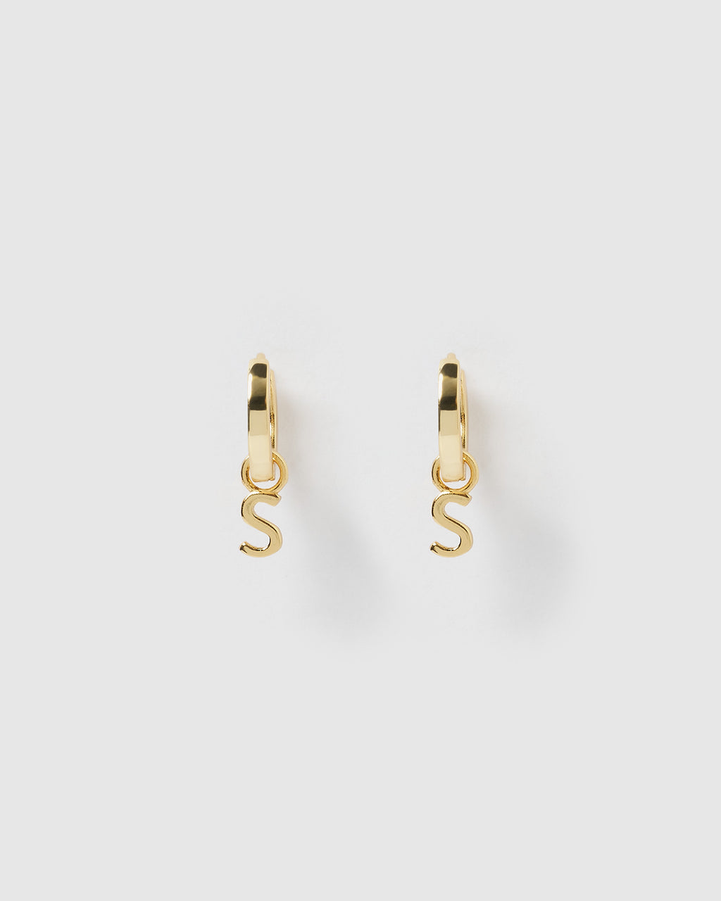 Izoa Alphabet Letter S Huggie Earrings Gold