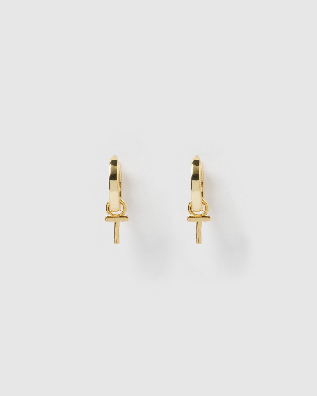 Izoa Alphabet Letter T Huggie Earrings Gold
