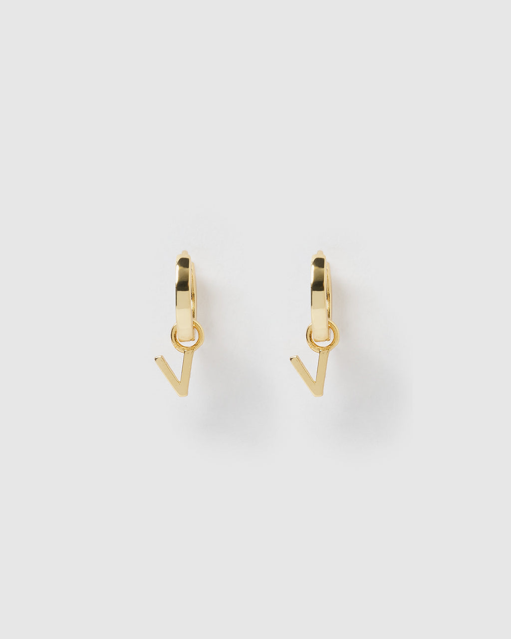 Izoa Alphabet Letter V Huggie Earrings Gold