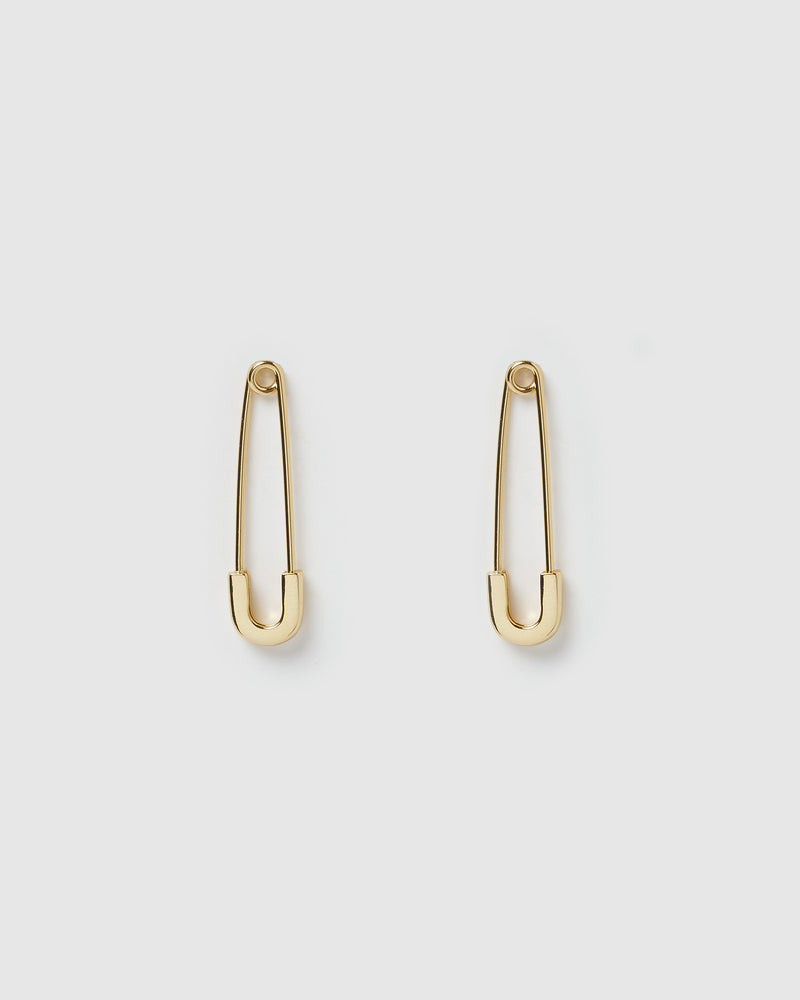 Izoa Amber Safety Pin Earrings Gold