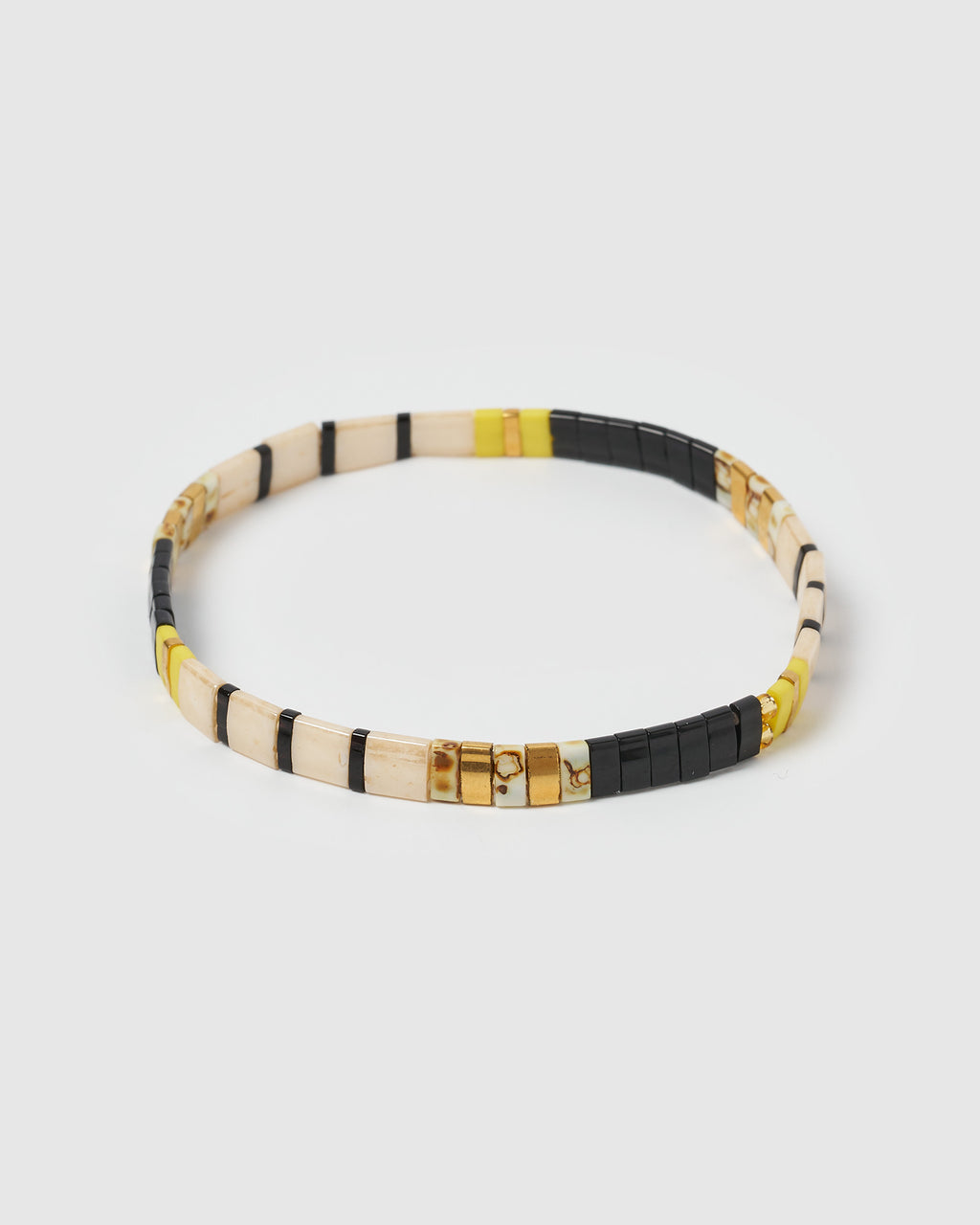Izoa Angeline Beaded Bracelet Black Gold