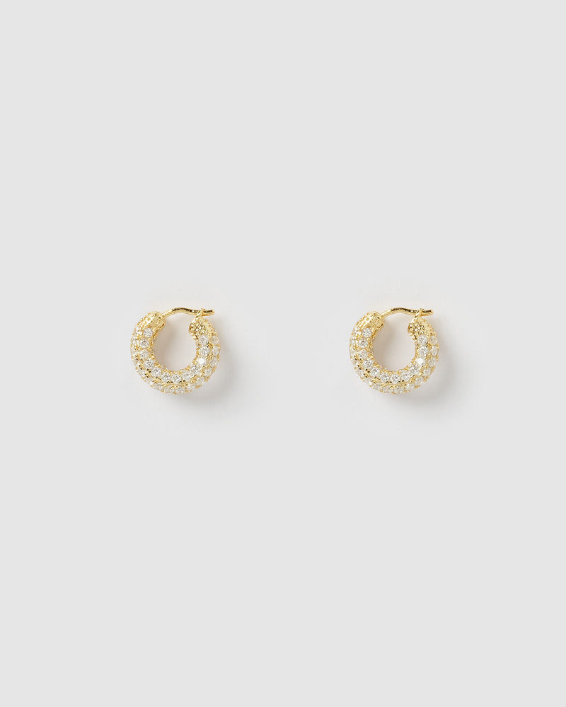 Izoa Ann Huggie Earrings Gold