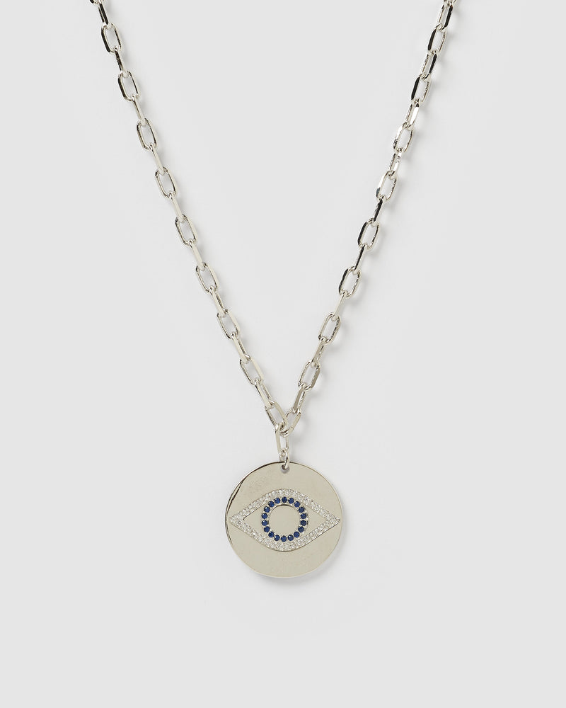Izoa Aria Embellished Eye Necklace Silver
