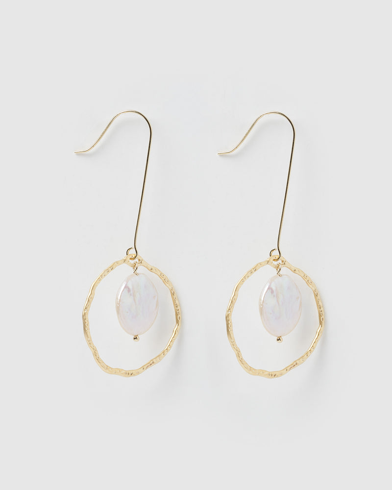 Izoa Astonish Earrings Gold Freshwater Pearl