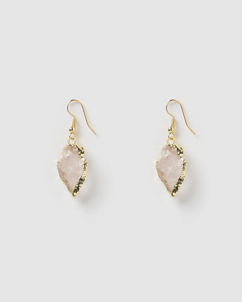Miz Casa & Co Atlas Stone Drop Earrings Rose Quartz