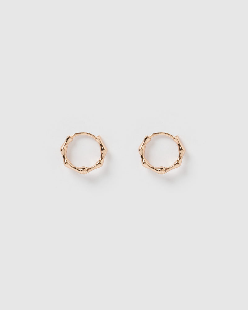 Izoa Sculpt Huggie Earrings Rose Gold