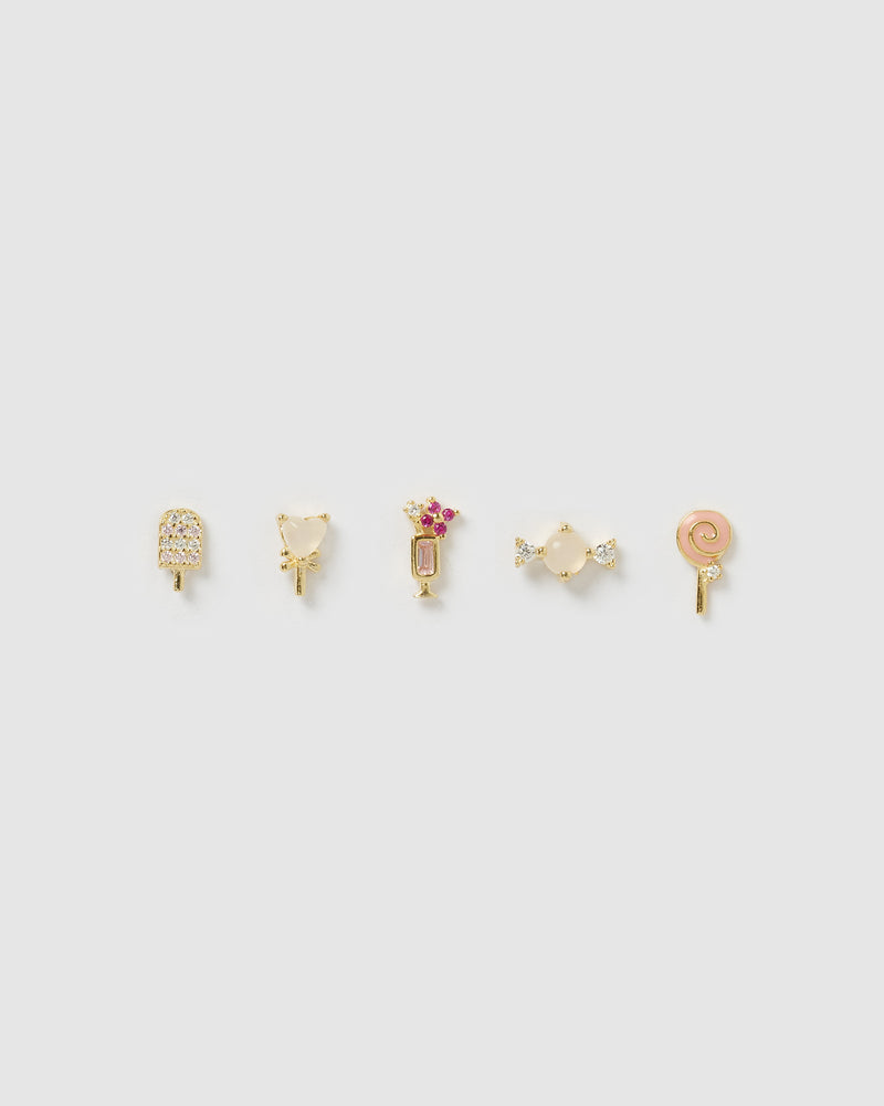 Izoa Lola 5 Piece Stud Earring Set Gold