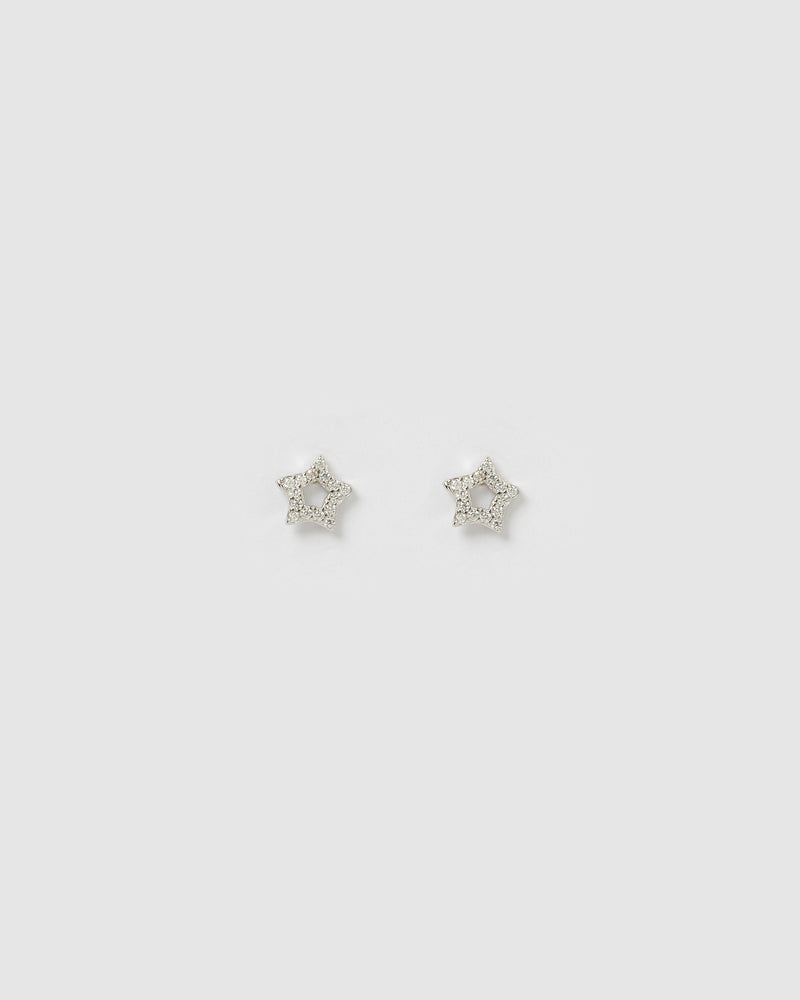 Izoa Roro Star Earrings Silver