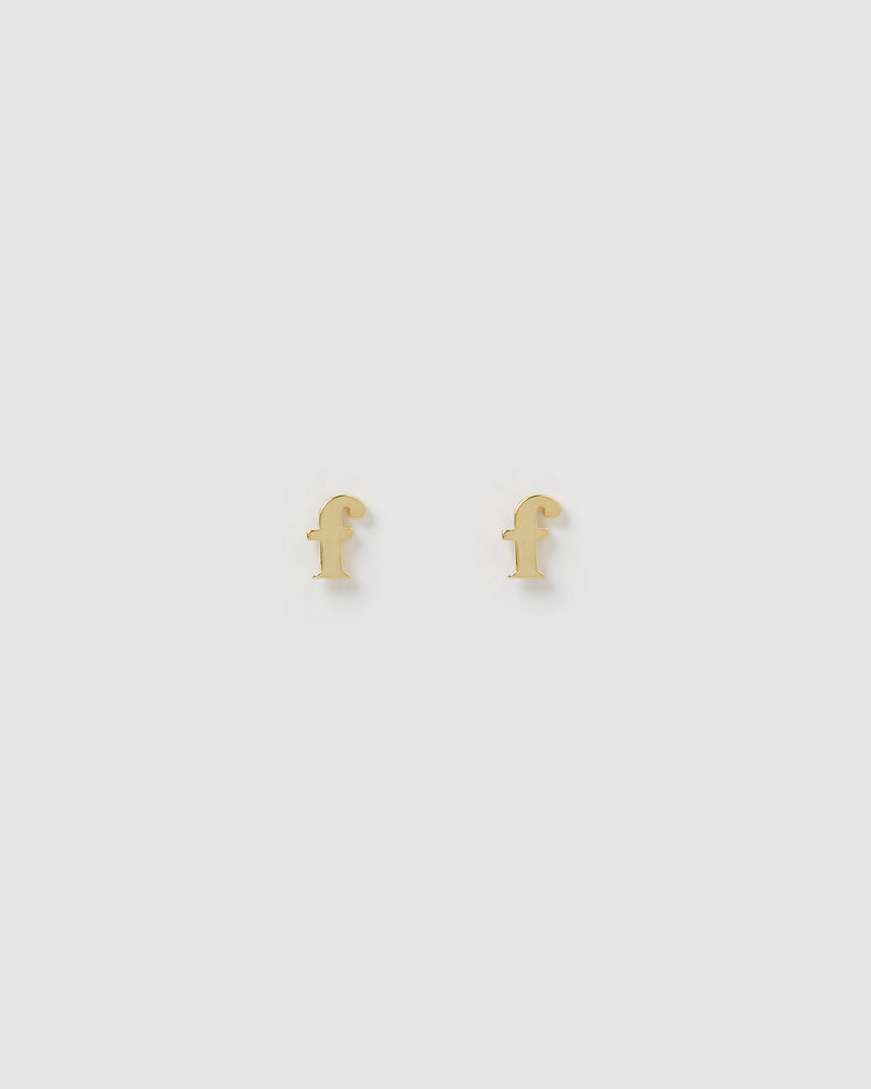 Izoa Little Letter F Stud Earrings Gold