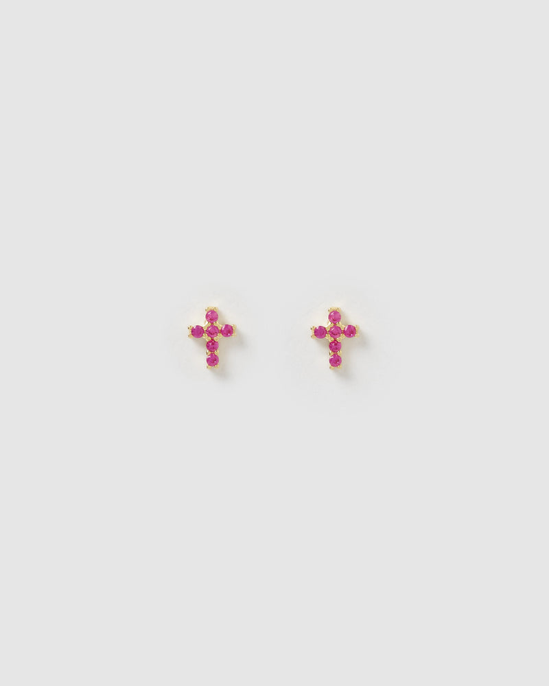 Izoa Jojo Cross Fuschia Cubic Zirconia Stud Earrings