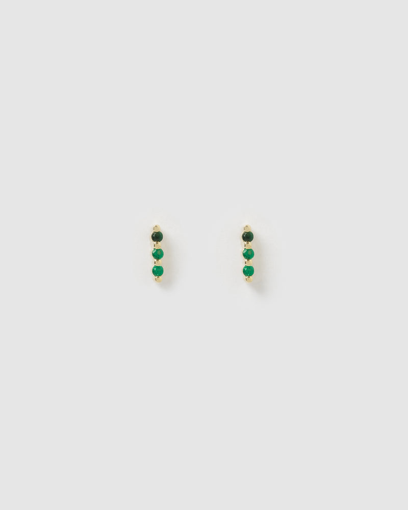 Izoa Trio Cubic Emerald Green Zirconia Stud Earrings