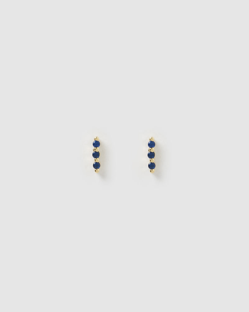 Izoa Trio Dark Blue Cubic Zirconia Stud Earrings