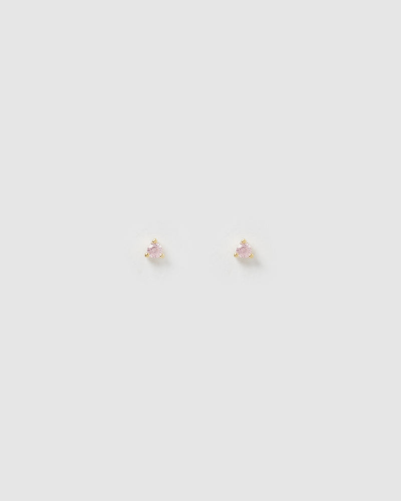 Izoa Dee Baby Pink Cubic Zirconia Small Stud Earrings