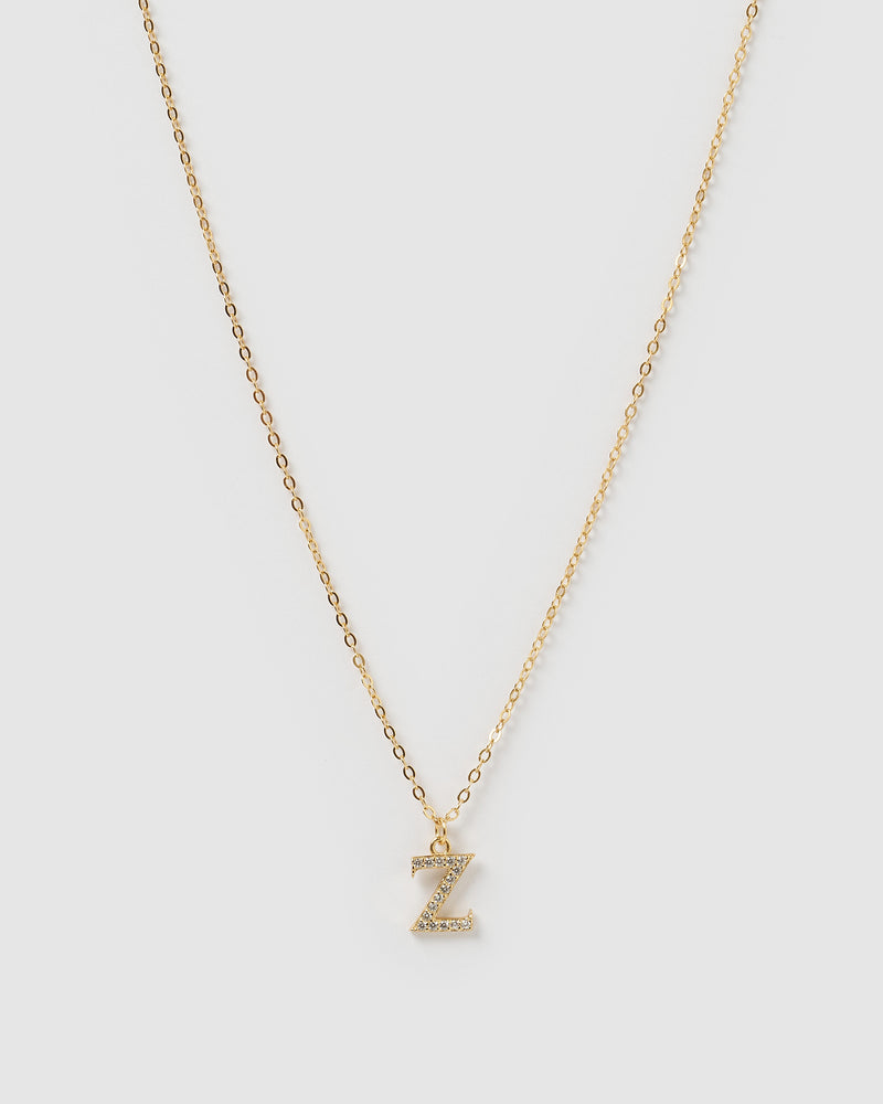 Izoa Crystal Letter Z Necklace Gold