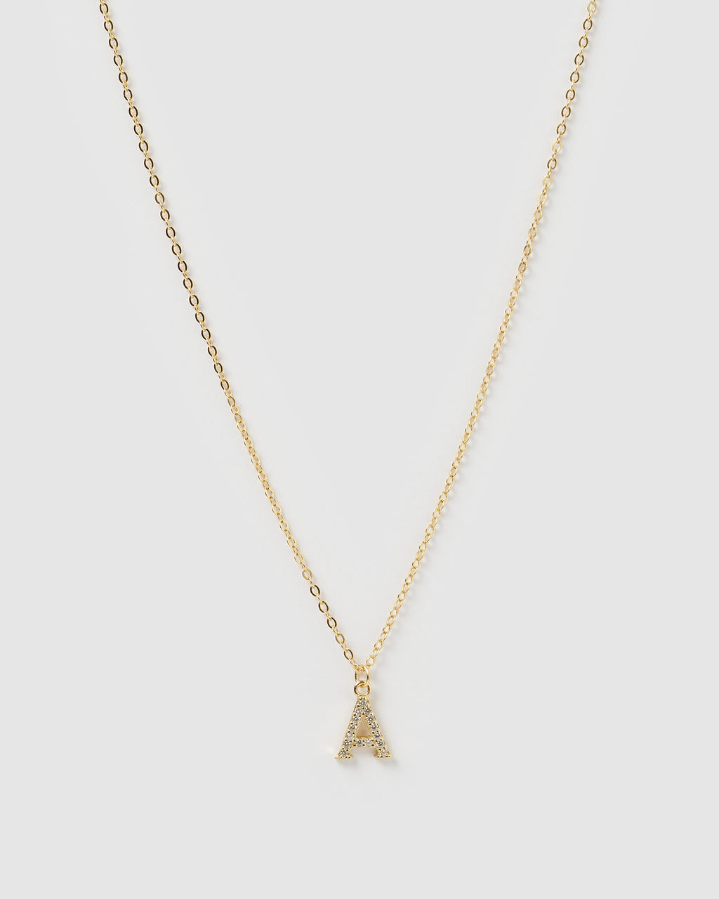 Izoa Crystal Letter A Necklace Gold