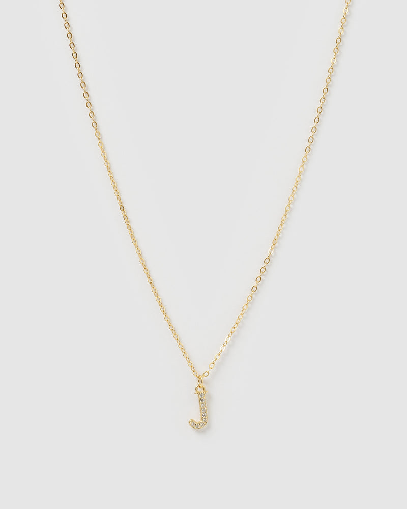 Izoa Crystal Letter J Necklace Gold
