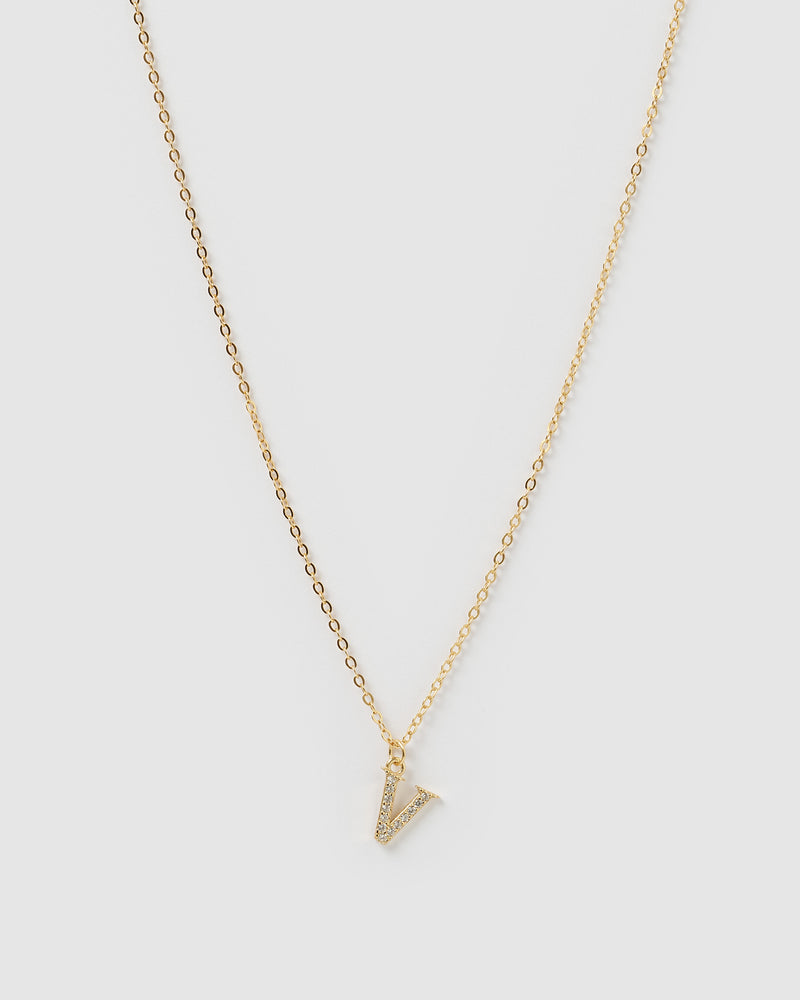 Izoa Crystal Letter V Necklace Gold