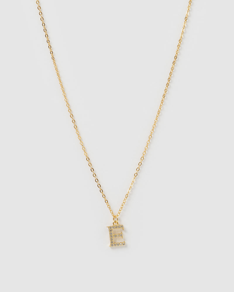 Izoa Crystal Letter E Necklace Gold
