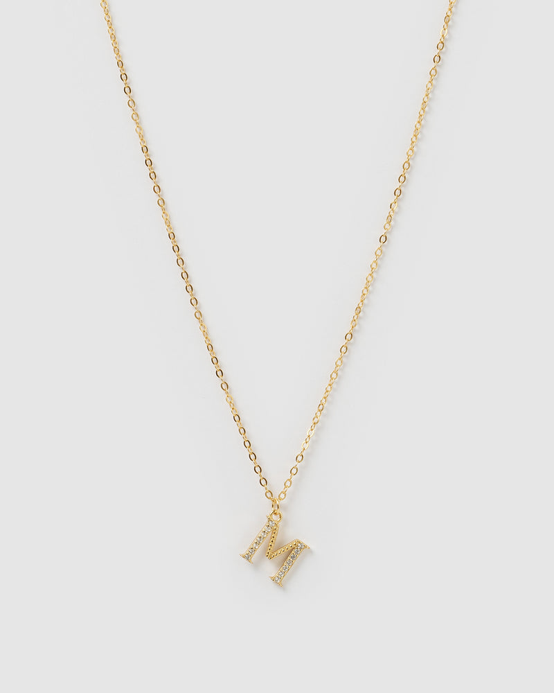 Izoa Crystal Letter M Necklace Gold