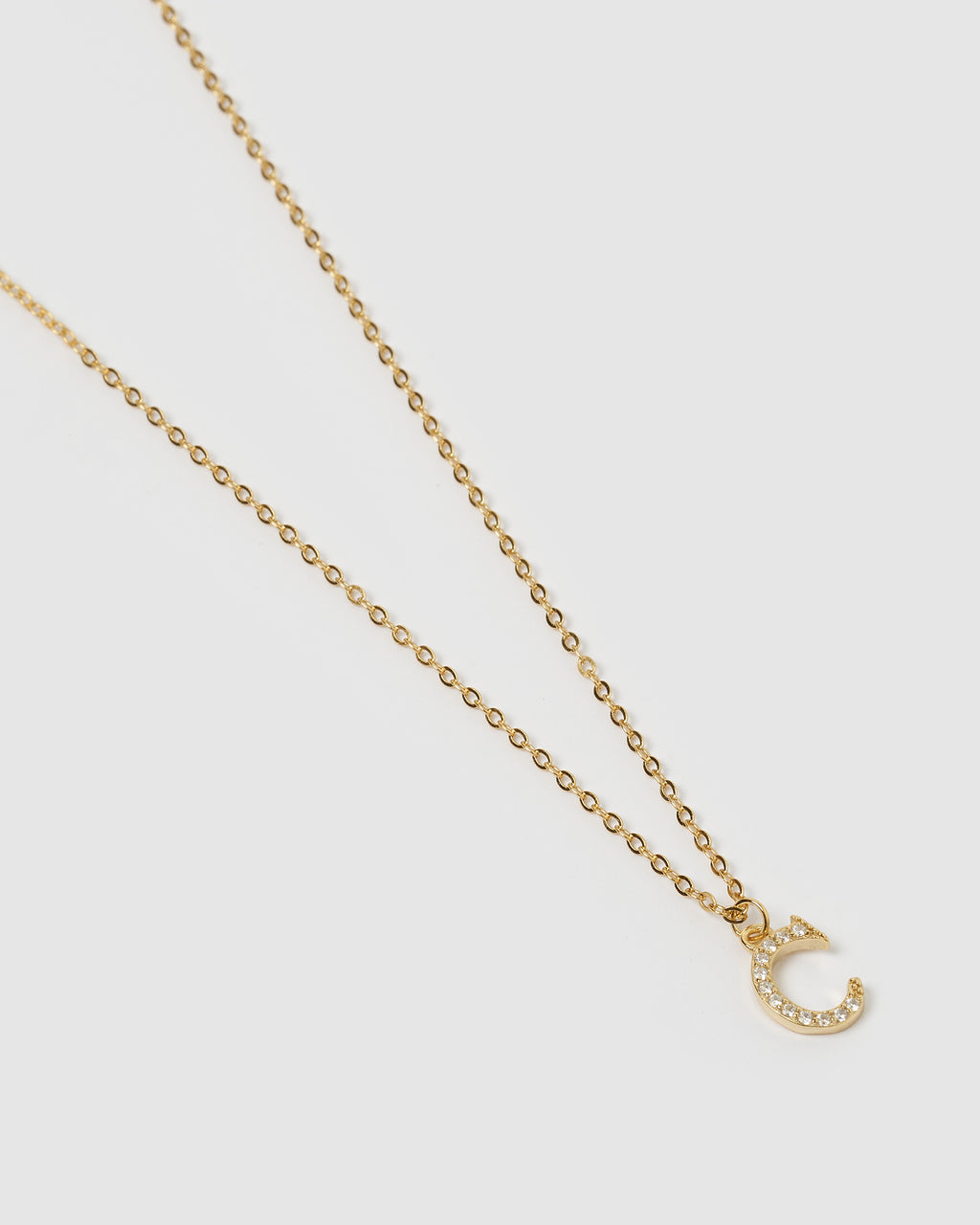 Izoa Crystal Letter C Necklace Gold