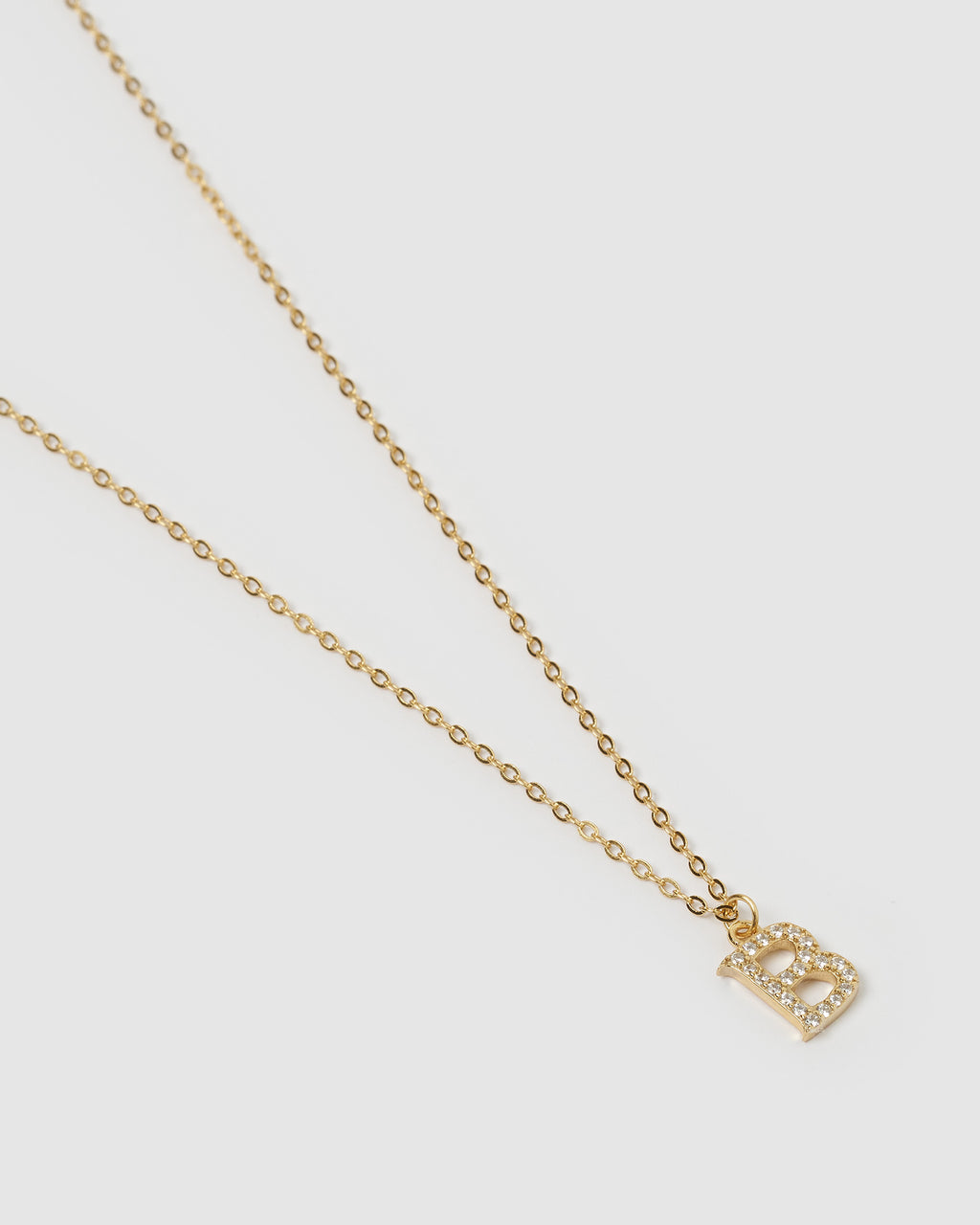 Izoa Crystal Letter B Necklace Gold