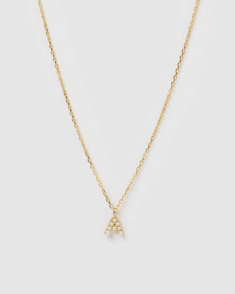 Izoa Pearl Letter A Necklace Gold
