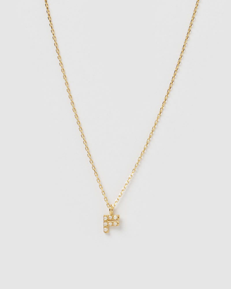 Izoa Pearl Letter F Necklace Gold