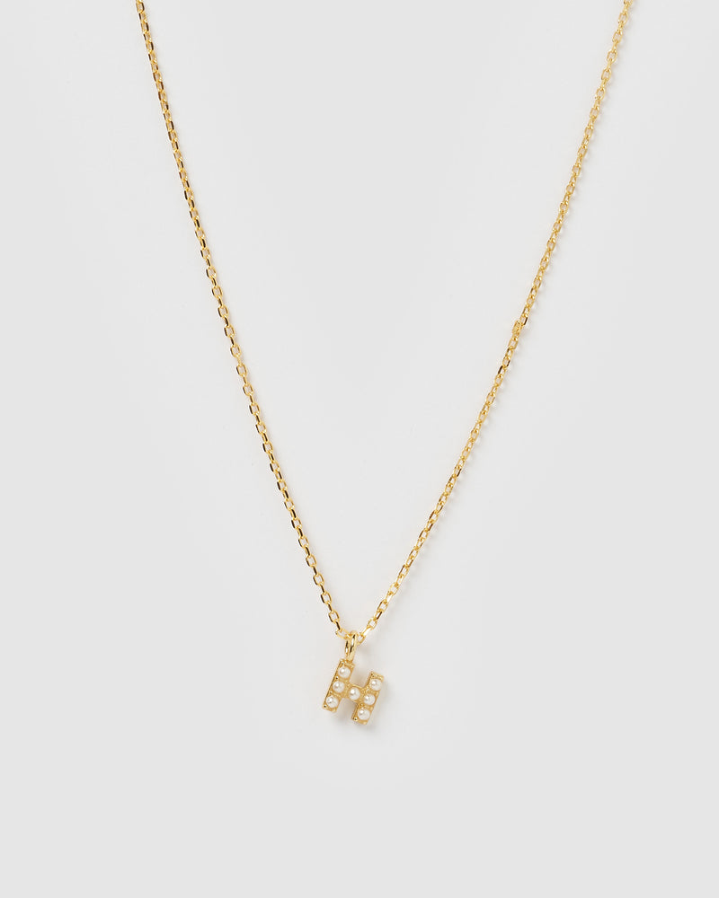 Izoa Pearl Letter H Necklace Gold