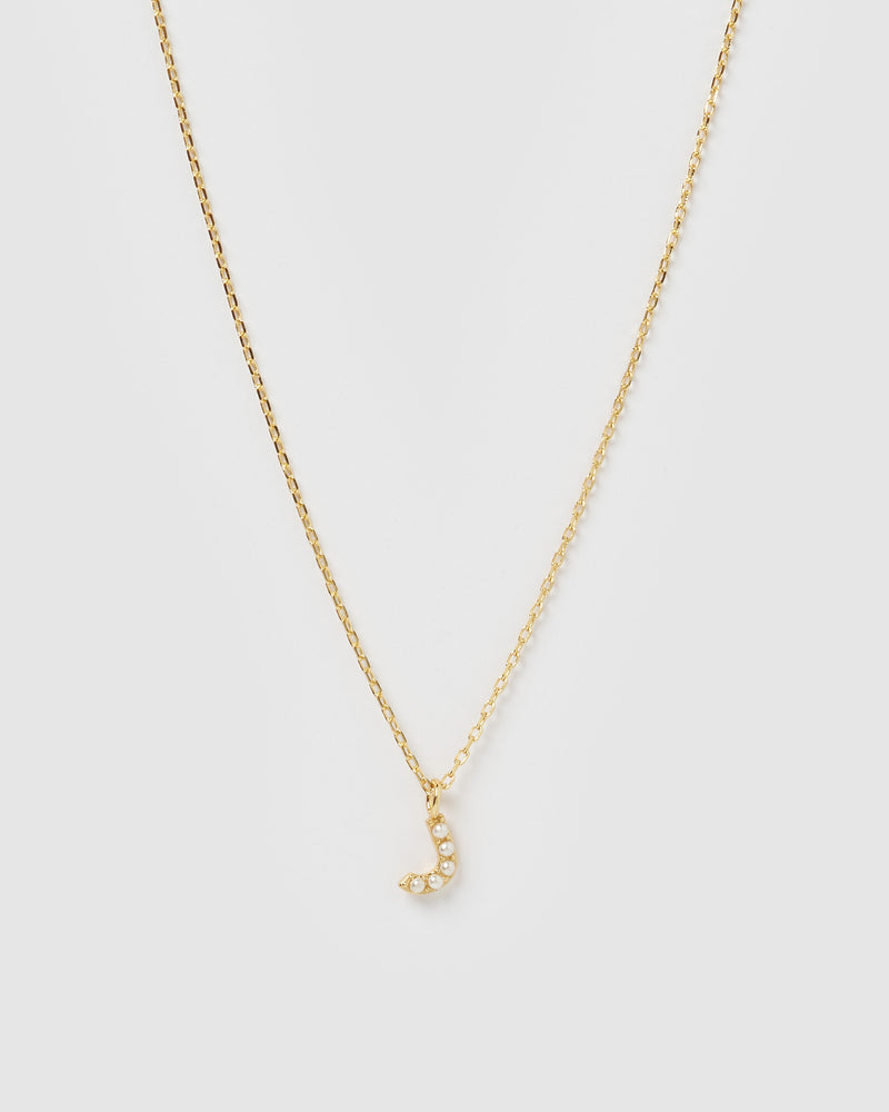 Izoa Pearl Letter J Necklace Gold
