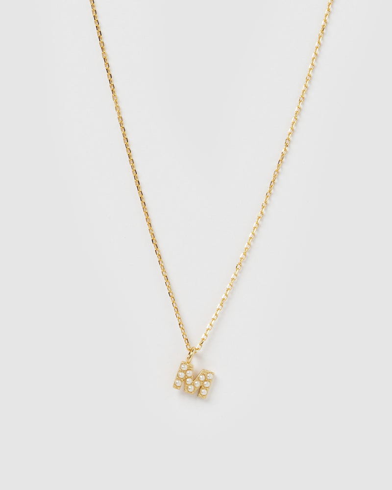 Izoa Pearl Letter M Necklace Gold