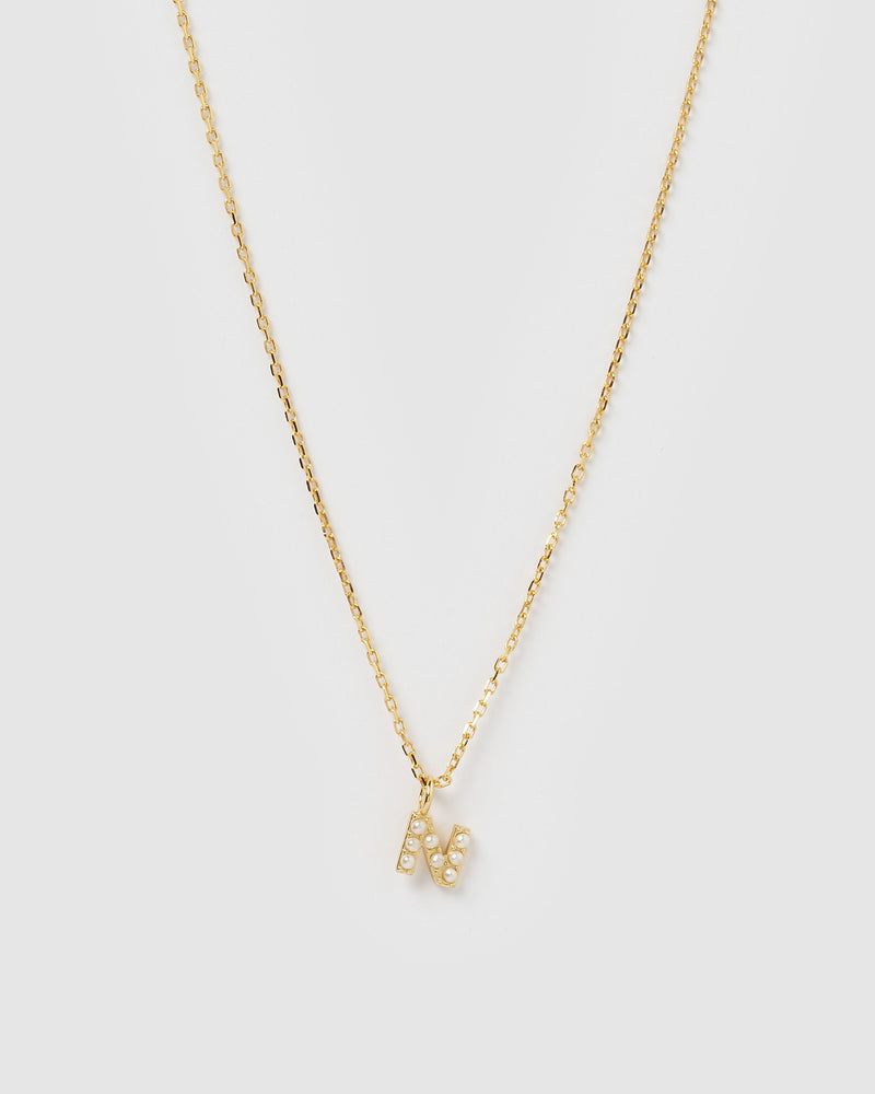 Izoa Pearl Letter N Necklace Gold