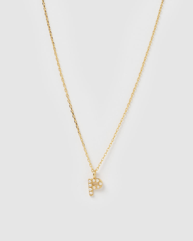Izoa Pearl Letter P Necklace Gold