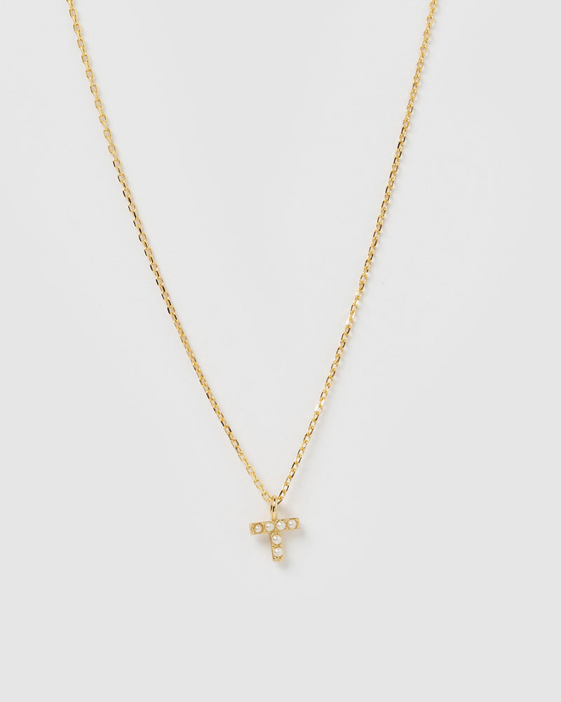 Izoa Pearl Letter T Necklace Gold