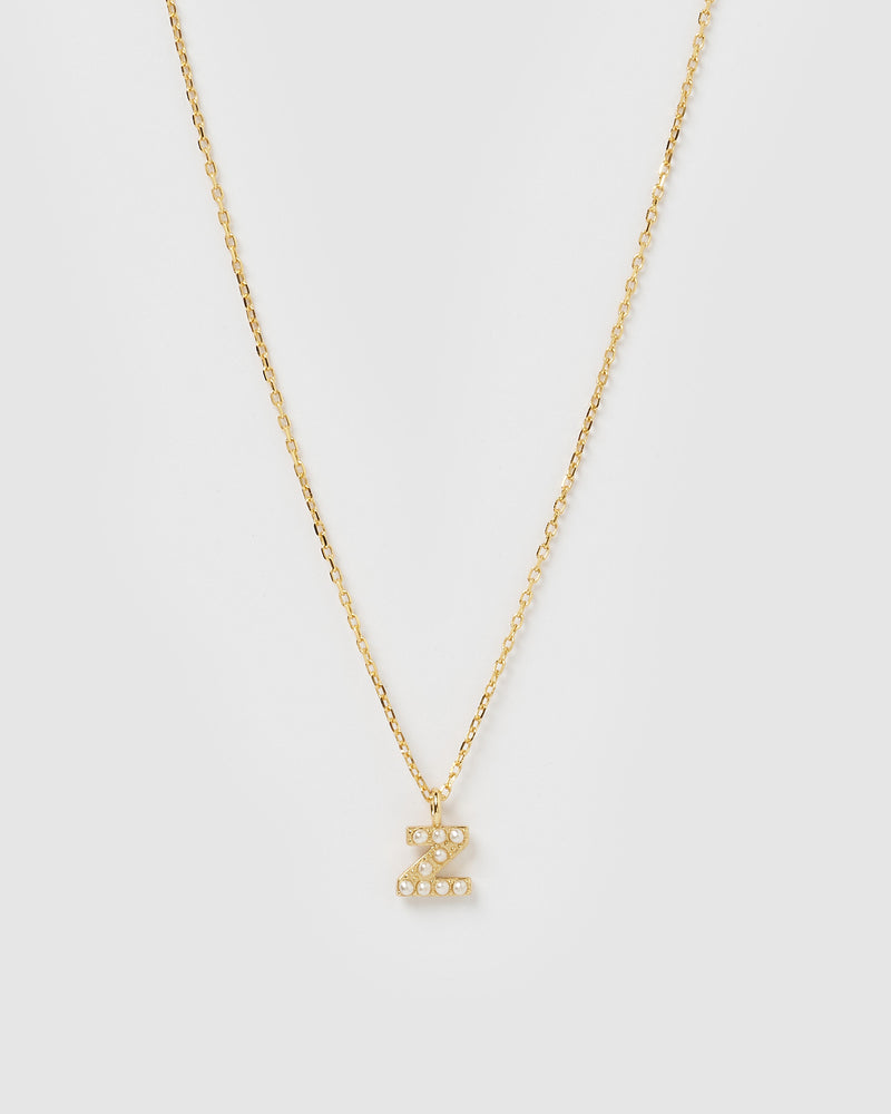 Izoa Pearl Letter Z Necklace Gold