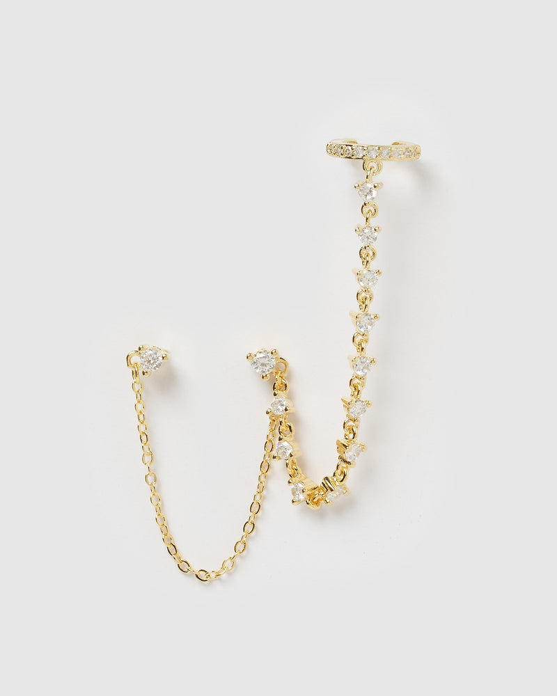 Izoa Aradna Chain Double Stud Earring Gold
