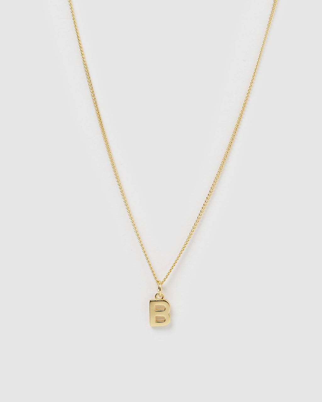 Izoa Alphabet Letter B Necklace Gold